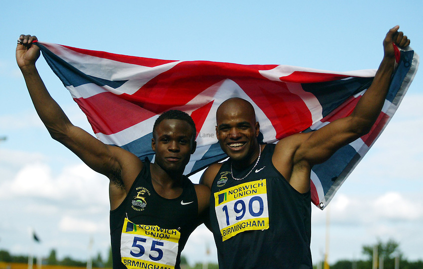 Photograph: Scott Heavey..Norwich Union World Trials & AAA Championships from The Alexander Stadium in Birmingham. 27/07/2003..Daniel Caines and D'uaine Ladejo