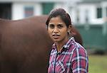 Trainer Aparna Battula at Monmouth Park Racetrack Barn Area on Tuesday September 27, 2016.  Photo By Bill Denver/EQUI-PHOTO.