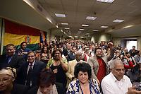 Roma, 11 Giugno 2012.Palazzetto delle carte geografiche.Evo Morales , presidente della Bolivia, durante la visita a Roma per ritirare un premio alla FAO, incontra la comunità boliviana della città e i movimenti di sinistra.