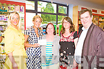 Orlaith Rafter presents a prize to Nora Lyne at the official opening of Horan's Health store in Killarney on Friday l-r: Sandra Horan, Orlaith Rafter, Nora Lyne, Heidi Loerli and Dan Horan