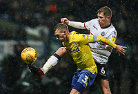 Bolton Wanderers' Josh Vela competing with Leeds United's Barry Douglas<br /> <br /> Photographer Andrew Kearns/CameraSport<br /> <br /> The EFL Sky Bet Championship - Bolton Wanderers v Leeds United - Saturday 15th December 2018 - University of Bolton Stadium - Bolton<br /> <br /> World Copyright &copy; 2018 CameraSport. All rights reserved. 43 Linden Ave. Countesthorpe. Leicester. England. LE8 5PG - Tel: +44 (0) 116 277 4147 - admin@camerasport.com - www.camerasport.com