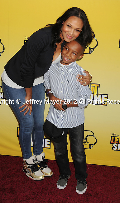 LOS ANGELES, CA - JUNE 05: Samantha Mumba and son Mason attends Disney's 'Let It Shine' Premiere held at The Directors Guild Of America on June 5, 2012 in Los Angeles, California.