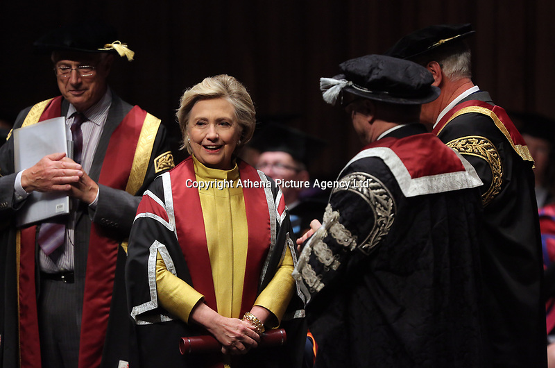 Pictured: Hillary Clinton receiving an honorary degree at Swansea University Bay Campus. Saturday 14 October 2017<br />Re: Hillary Clinton, the former US secretary of state and 2016 American presidential candidate will be presented with an honorary doctorate during a ceremony at Swansea University's Bay Campus in Wales, UK, to recognise her commitment to promoting the rights of families and children around the world.<br />Mrs Clinton's great grandparents were from south Wales.