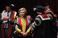 Pictured: Hillary Clinton receiving an honorary degree at Swansea University Bay Campus. Saturday 14 October 2017<br />
