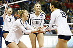 KANSAS CITY, KS - DECEMBER 14: Tori Gorrell #11 of Penn State University celebrates a point while playing the University of Nebraska during the Division I Women's Volleyball Semifinals held at Sprint Center on December 14, 2017 in Kansas City, Missouri. (Photo by Tim Nwachukwu/NCAA Photos via Getty Images)