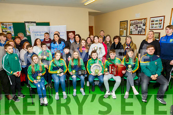 Scor Na nOg: The Finuge GAA club's Ceol Uirlise group that won the All_Ireland at the INEC, Killarney recently celebrating with their families,friends & Club memebers on Saturday evening last.  Included in the group are Caoimhe Laide, Mikey Fealey, Aideen  Cronin, Daibhin Laide, Kyra O'Sullivan  & Kieran Mackessy.