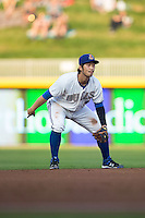 Durham Bulls shortstop Hak-Ju Lee (3) on defense against the Scranton/Wilkes-Barre RailRiders at Durham Bulls Athletic Park on May 15, 2015 in Durham, North Carolina.  The RailRiders defeated the Bulls 8-4 in 11 innings.  (Brian Westerholt/Four Seam Images)