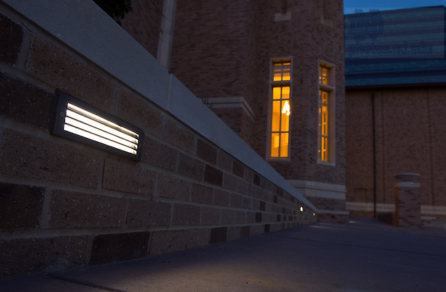 LED lighting on the Irish Terrace outside the DeBartolo Performing Arts Center...Photo by Matt Cashore/University of Notre Dame