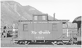 Short caboose #0500.<br /> D&amp;RGW  Durango, CO  Taken by Dunscomb, Guy L. - 5/5/1942