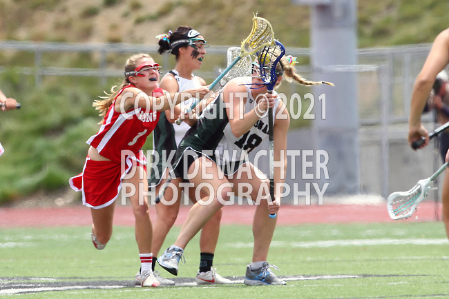 San Diego, CA 05/21/11 - Carissa Fisher (Cathedral Catholic #1) and Kaitlyn Couture (Coronado #18) in action during the 2011 CIF San Diego Division 2 Girls lacrosse finals between Cathedral Catholic and Coronado.