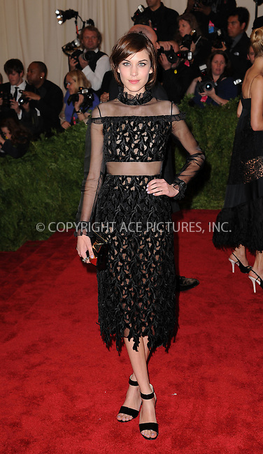 WWW.ACEPIXS.COM....May 6 2013, New York City....Alexa Chung attends the Costume Institute Gala for the 'PUNK: Chaos to Couture' exhibition at the Metropolitan Museum of Art on May 6, 2013 in New York City.....By Line: Kristin Callahan/ACE Pictures......ACE Pictures, Inc...tel: 646 769 0430..Email: info@acepixs.com..www.acepixs.com