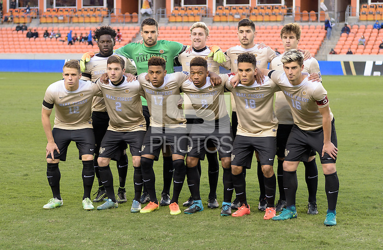 Houston, TX - Friday December 9, 2016: Wake Forest Demon Deacons starting XI at the NCAA Men's Soccer Semifinals at BBVA Compass Stadium in Houston Texas.