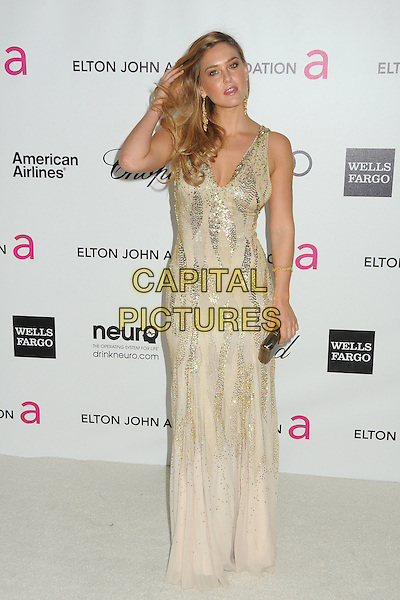 Bar Refaeli.20th Annual Elton John Academy Awards Viewing Party held at West Hollywood Park, West Hollywood, California, USA..February 26th, 2012.full length white silver gold dress sequins sequined hand arm clutch bag sleeveless oscars.CAP/ADM/BP.©Byron Purvis/AdMedia/Capital Pictures.