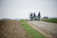 Team Orica-GreenEDGE on their last recon over sector 19 (Haveluy) of the 114th Paris - Roubaix 2016