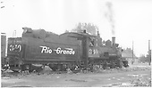 3/4 rear engineer's-side view of D&amp;RGW #340 at Montrose.<br /> D&amp;RGW  Montrose, CO
