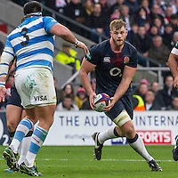 George Kruis in action, England v Argentina in an Old Mutual Wealth Series, Autumn International match at Twickenham Stadium, London, England, on 26th November 2016. Full Time score 27-14