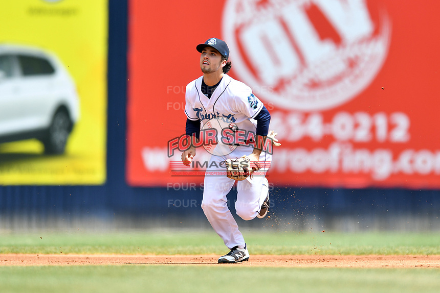 Asheville Tourists shortstop Terrin Vavra (6) reacts to the ball during a game against the Delmarva Shorebirds at McCormick Field on May 5, 2019 in Asheville, North Carolina. The Shorebirds defeated the Tourists 10-9. (Tony Farlow/Four Seam Images)