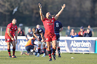 Ratu Maafu celebrates victory at the final whistle during the Greene King IPA Championship match between London Scottish Football Club and Jersey at Richmond Athletic Ground, Richmond, United Kingdom on 18 February 2017. Photo by David Horn / PRiME Media Images.