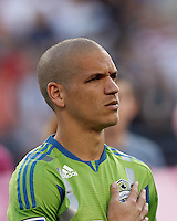 Seattle Sounders FC midfielder Osvaldo Alonso (6). In a Major League Soccer (MLS) match, the New England Revolution tied the Seattle Sounders FC, 2-2, at Gillette Stadium on June 30, 2012.