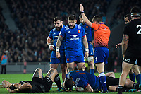 NZ's Ofa Tuungafasi and France's Remi Grosso go down after a head collision during the Steinlager Series international rugby match between the New Zealand All Blacks and France at Eden Park in Auckland, New Zealand on Saturday, 9 June 2018. Photo: Dave Lintott / lintottphoto.co.nz