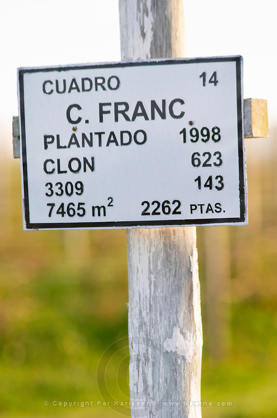 A sign saying that this plot is planted with Cabernet Franc. Vinedos y Bodega Filgueira Winery, Cuchilla Verde, Canelones, Montevideo, Uruguay, South America