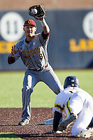 Central Michigan Chippewas shortstop Zach McKinstry (8) catches a pickoff attempt at second base against the Michigan Wolverines on March 29, 2016 at Ray Fisher Stadium in Ann Arbor, Michigan. Michigan defeated Central Michigan 9-7. (Andrew Woolley/Four Seam Images)