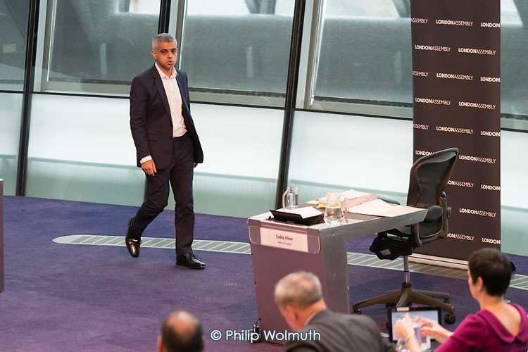 Sadiq Khan returns to the London Assembly chamber after Londoners bring Mayor's Question Time to a standstill to demand Sadiq Khan keeps his climate promises.  City Hall, London.