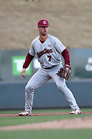 Third baseman Jacob Olsen (7) of the South Carolina Gamecocks plays defense in a game against the Furman Paladins on Tuesday, March 19, 2019, at Fluor Field at the West End in Greenville, South Carolina. South Carolina won, 12-7. (Tom Priddy/Four Seam Images)