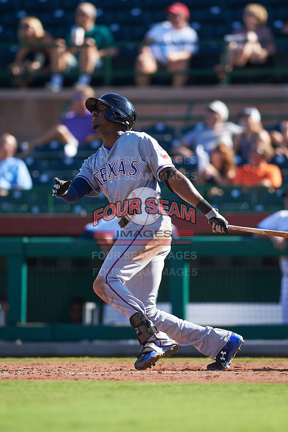 Surprise Saguaros outfielder Lewis Brinson (5) at bat during an Arizona Fall League game against the Scottsdale Scorpions on October 22, 2015 at Scottsdale Stadium in Scottsdale, Arizona.  Surprise defeated Scottsdale 7-6.  (Mike Janes/Four Seam Images)