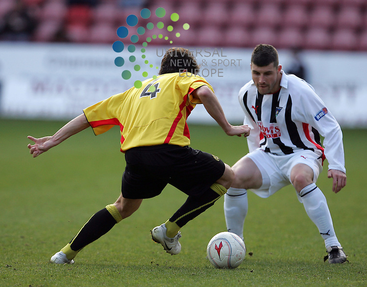 Dunfermline v Partick Thistle, East End park, Dunfermline - 14/03/2009.Irn-Bru Scottish Football League First Division, Season 2008/09..Partick Thistle's Paul Paton tries to get past Dunfermline's Austin McCann.  Full time Dunfermline 0 - Partick Thistle 1.  Picture by John Cockburn/ Universal News & Sport (Scotland)