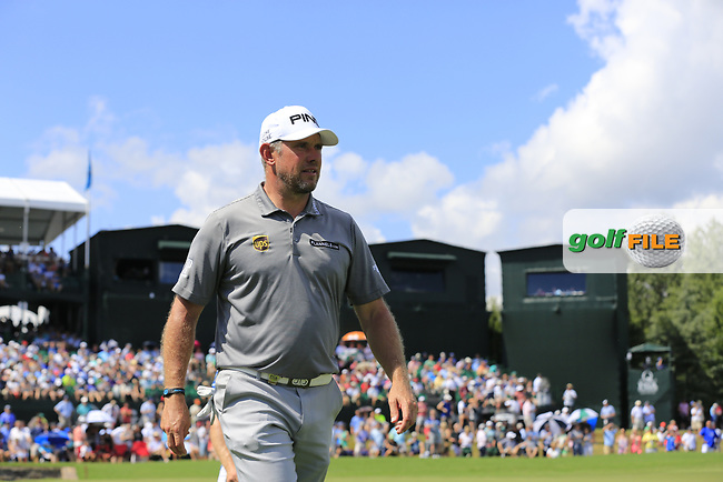 Lee Westwood (ENG) finishes on the 18th green during Saturday's Round 3 of the 2017 PGA Championship held at Quail Hollow Golf Club, Charlotte, North Carolina, USA. 12th August 2017.<br /> Picture: Eoin Clarke | Golffile<br /> <br /> <br /> All photos usage must carry mandatory copyright credit (&copy; Golffile | Eoin Clarke)