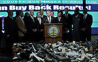 New Jersey, United States. 19th Feb, 2013 -- Attorney General Jeffrey S. Chiesa (C ) speaks about the gun buyback program where at least 1.700 weapons were acquired during the weekend in the Essex county in New Jersey. Photo by Kena Betancur / VIEWpress.