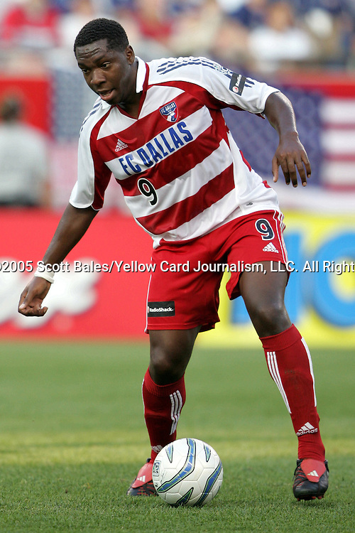 16 July 2005: FC Dallas's Roberto Mina. The New England Revolution defeated FC Dallas 3-2 at Gillette Stadium in Foxboro, Massachusetts in a Major League Soccer regular season match.