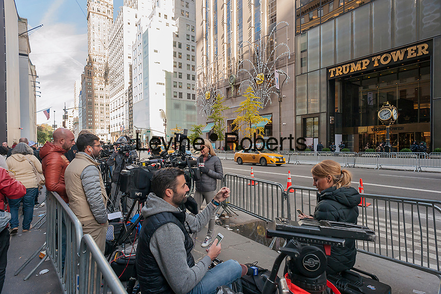 Media camped out across fromTrump Tower on Fifth Avenue in New York on Thursday, November 10, 2016. Security is tight due to President-elect Donald Trump living there. (©Richard B. Levine)