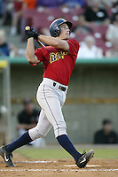 Aaron Clark of the Bakersfield Blaze bats during a California League 2002 season game against the High Desert Mavericks at Mavericks Stadium, in Adelanto, California. (Larry Goren/Four Seam Images)