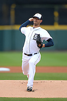 Detroit Tigers pitcher Rick Porcello (20) during a spring training game against the Atlanta Braves on February 27, 2014 at Joker Marchant Stadium in Lakeland, Florida.  Detroit defeated Atlanta 5-2.  (Mike Janes/Four Seam Images)
