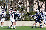 Los Angeles, CA 03/12/16 - Nate Fredricks (Loyola Marymount #2) and unidentified Utah State player(s) in action during the Utah State vs Loyola Marymount MCLA Men's Division I game at Leavey Field at LMU.  Utah State defeated LMU 17-4.