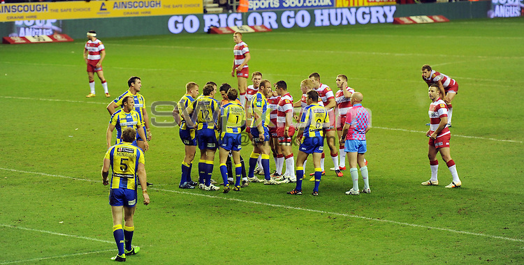 Picture by Simon Wilkinson/SWpix.com Sponsors Branding DW Stadium Wigan Warriors v Warrington Wolves - Heinz