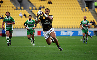 Wellington's Robert Fruean collects the ball on his way to the tryline. Air NZ Cup - Wellington Lions v Manawatu Turbos at Westpac Stadium, Wellington, New Zealand. Saturday 3 October 2009. Photo: Dave Lintott / lintottphoto.co.nz