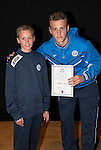 St Johnstone FC Academy Awards Night...06.04.15  Perth Concert Hall<br /> Ally Gilchrist presents a certificate to Fraser Corbett<br /> Picture by Graeme Hart.<br /> Copyright Perthshire Picture Agency<br /> Tel: 01738 623350  Mobile: 07990 594431