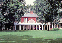 Thomas Jefferson: University of Virginia--view across lawn to Pavilion.  Photo '85.