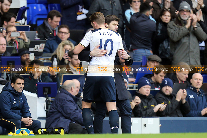 Tottenham Hotspur manager Mauricio Pochettino acknowledges Harry Kane of Tottenham Hotspur upon his substitution during Tottenham Hotspur vs Stoke City, Premier League Football at White Hart Lane on 26th February 2017