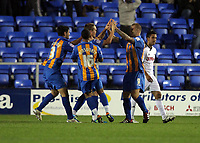 Pictured: Nicky Wroe of Shrewsbury (3rd L) celebrating his goal with team mates. Tuesday 23 August 2011<br />
