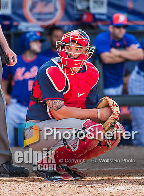 8 March 2015: Boston Red Sox catcher Blake Swihart looks back to the dugout during Spring Training action against the New York Mets at Tradition Field in Port St. Lucie, Florida. The Mets fell to the Red Sox 6-3 in Grapefruit League play. Mandatory Credit: Ed Wolfstein Photo *** RAW (NEF) Image File Available ***