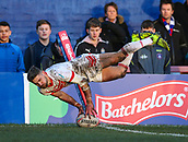 10th February 2019, Belle Vue, Wakefield, England; Betfred Super League rugby, Wakefield Trinity versus St Helens; Tom Makinson of St Helens scores a try in the corner to make the score 12-18
