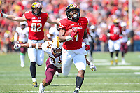 College Park, MD - September 22, 2018:  Maryland Terrapins wide receiver DJ Turner (1) scores a touchdown during the game between Minnesota and Maryland at  Capital One Field at Maryland Stadium in College Park, MD.  (Photo by Elliott Brown/Media Images International)