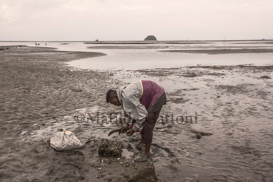 "Indonesia – Sumatra – Aceh - Lambaru Madjid – Kamaruzaman, 32-year-old fisherman is collecting mussels during the low tide where it used to be dry land before the tsunami submerged 200 meters of coastline under the ocean forever.  ""Villagers here have experience with big waves, but these were huge"" he remembers, walking through the low-tide-mud to look for mussels. ""I realized it was a disaster when I saw the destroyed houses on the coastline""."