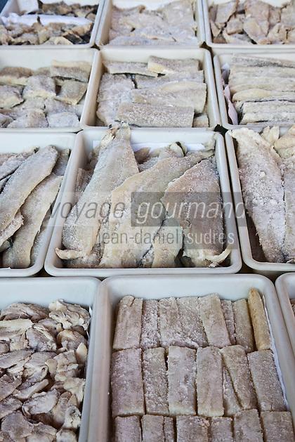 Europe/Espagne/Pays Basque/Guipuscoa/Goierri/Lazcau: Le marché _ Etal du marchand de morue