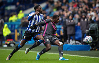 Leeds United's Edward Nketiah (left) competing with Sheffield Wednesday's Dominic Iorfa <br /> <br /> Photographer Andrew Kearns/CameraSport<br /> <br /> The EFL Sky Bet Championship - Sheffield Wednesday v Leeds United - Saturday 26th October 2019 - Hillsborough - Sheffield<br /> <br /> World Copyright © 2019 CameraSport. All rights reserved. 43 Linden Ave. Countesthorpe. Leicester. England. LE8 5PG - Tel: +44 (0) 116 277 4147 - admin@camerasport.com - www.camerasport.com