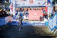 Michael Vanthourenhout (BEL) leading the race<br /> <br /> Men U23 race<br /> <br /> 2015 UCI World Championships Cyclocross <br /> Tabor, Czech Republic